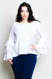 Plus Size Ruffled Long Sleeved Casual Top