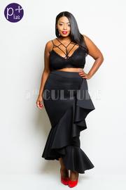 Plus Size Hi Waist Asymmetrical Cascade Maxi Bodycon Skirt