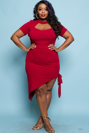 Plus Size Hole Chest Asymmetrical Bodycon Dress