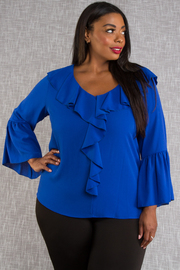 Plus Size V-neck Ruffled Trim Loose Top