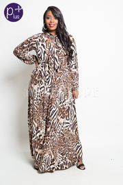Plus Size Self-Tie Wild Leopard Maxi Flowy Dress