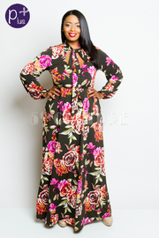 Plus Size Self-Tie Roses Flowy Maxi Dress