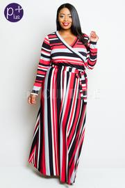 Plus Size Surplice Striped Flowy Maxi Dress
