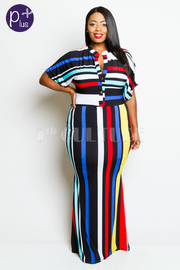 Plus Size Button Down Striped Colorful Mermaid Dress