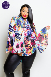 Plus Size Colorful Button Down Bell Sleeved Blouse