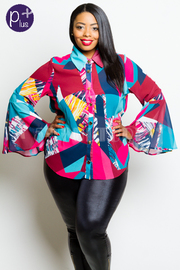 Plus Size Bell Sleeved Colorful Button Down Top
