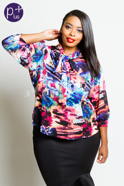 Plus Size Self-Tie Colorful 3/4 Sleeved Top