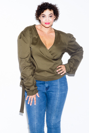Plus Size Solid Surplice Woven Casual Top