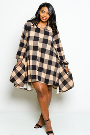 Plaid Western Button Down Hi Lo Shirt Dress