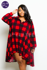 Plus Size Button Down Plaid Collared Hi Low Shirt Dress