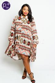 Plus Size Aztec Pattern Button Down Hi Lo Dress