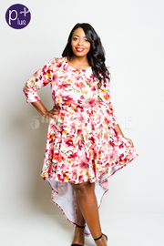 Plus Size Pretty In Floral Tail Short Dress