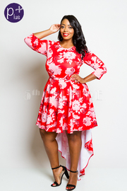 Plus Size 3/4 Sleeved Floral Tail Short Dress