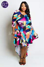 Plus Size Colorblock 3/4 Sleeved Tail Flowy Dress