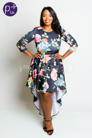 Plus Size 3/4 Sleeved Roses In Bloom Tail Flowy Dress