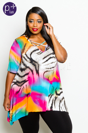 Plus Size Colorful Zebra Printed Top