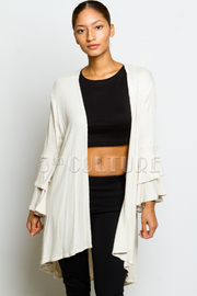 Ruffled Sleeved Loose Cardigan