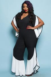 Plus Size Contrast V-neck Flounced Trendy Jumpsuit