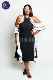 Plus Size Cold Shoulder Flounced Contrast Dress
