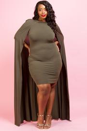Plus Size Cape Back Solid Mini Dress