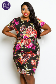 Plus Size Roses In Print Bodycon Dress