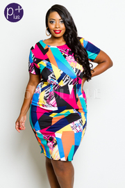 Plus Size Colorful Abstract Bodycon Fit Dress
