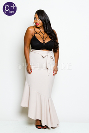 Plus Size Asymmetric Cascade Mermaid Skirt