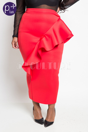 Plus Size Cascade Side Midi Tube Skirt
