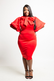 Plus Size Flutter Sleeved Mandarin Self-Tie Bodycon Dress