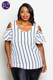 Plus Size Casual Cold Shoulder Striped Top