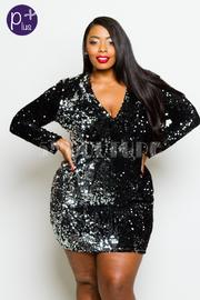 Plus Size V-neck Sequin Party Bodycon Dress