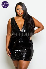 Plus Size Deep v Sequin Cocktail Party Tube Dress