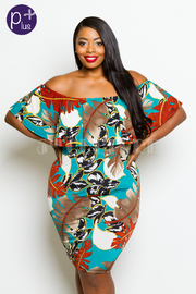 Plus Size Off Shoulder Leaves Tube Dress