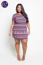 Plus Size Striped Mini Tube Dress