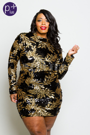 Plus Size Sequin Leaves Glam Cocktail Tube Dress