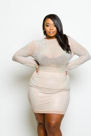 Plus Size Embellished Studded Diva Hole Back Mini Dress