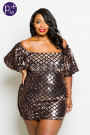 Plus Size Off Shoulder Checkered Mini Holiday Dress