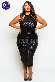 Plus Size Diamond Spiral Midi Glam Cocktail Dress