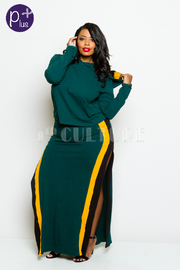 Plus Size Sporty Colorblock Lined Maxi Skirt Cropped Sweater Set