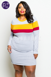 Plus Size Colorblock Striped Terry Tunic Dress