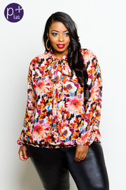 Plus Size Long Sleeved Floral Self-Tie Blouse
