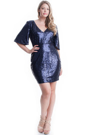 Plus Size Sequin All Over Bodycon Dress With Short Flounced Sleeves.