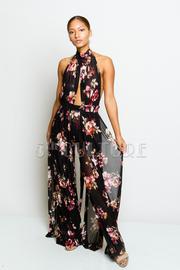 Pretty In Floral Sheer Halter Jumpsuit
