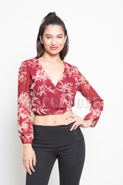 Surplice Floral Printed Blouse