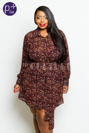 Plus Size Night Out Printed Sheer Button Down Collared Self-Tie Jacket Dress