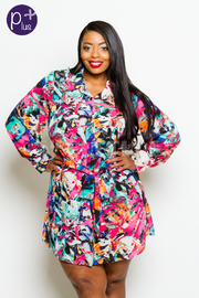 Plus Size Collared Multi-Colored Artist Chiffon Button Down Jacket Dress