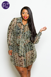 Plus Size Wild Pattern Chiffon Button Down Long Sleeved Jacket Collared Dress