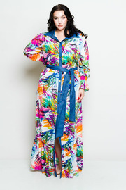 Plus Size Button Down Colorful Printed Self-Tie Maxi Dress