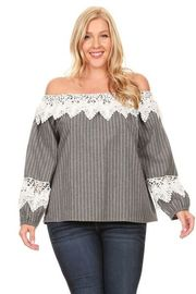Plus Size Off Shoulder Crochet Striped Long Sleeved Top