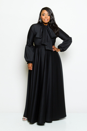 Plus Size Self-Tie Flowy Maxi Puffed Sleeved Dress
